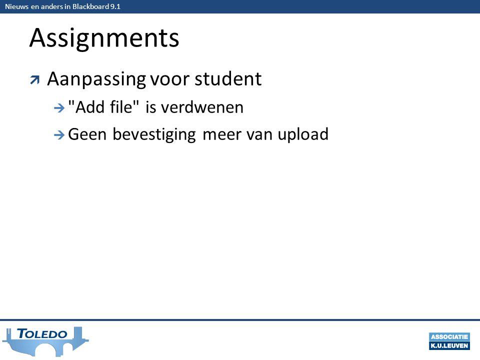 Nieuws en anders in Blackboard 9.1 Assignments  Aanpassing voor student  Add file is verdwenen  Geen bevestiging meer van upload