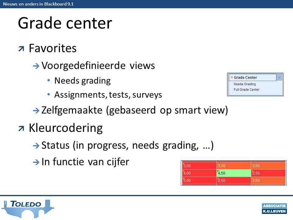 Nieuws en anders in Blackboard 9.1 Grade center  Favorites  Voorgedefinieerde views • Needs grading • Assignments, tests, surveys  Zelfgemaakte (gebaseerd op smart view)  Kleurcodering  Status (in progress, needs grading, …)  In functie van cijfer
