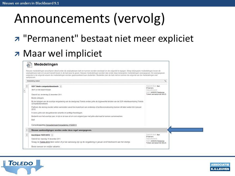 Nieuws en anders in Blackboard 9.1 Announcements (vervolg)  Permanent bestaat niet meer expliciet  Maar wel impliciet