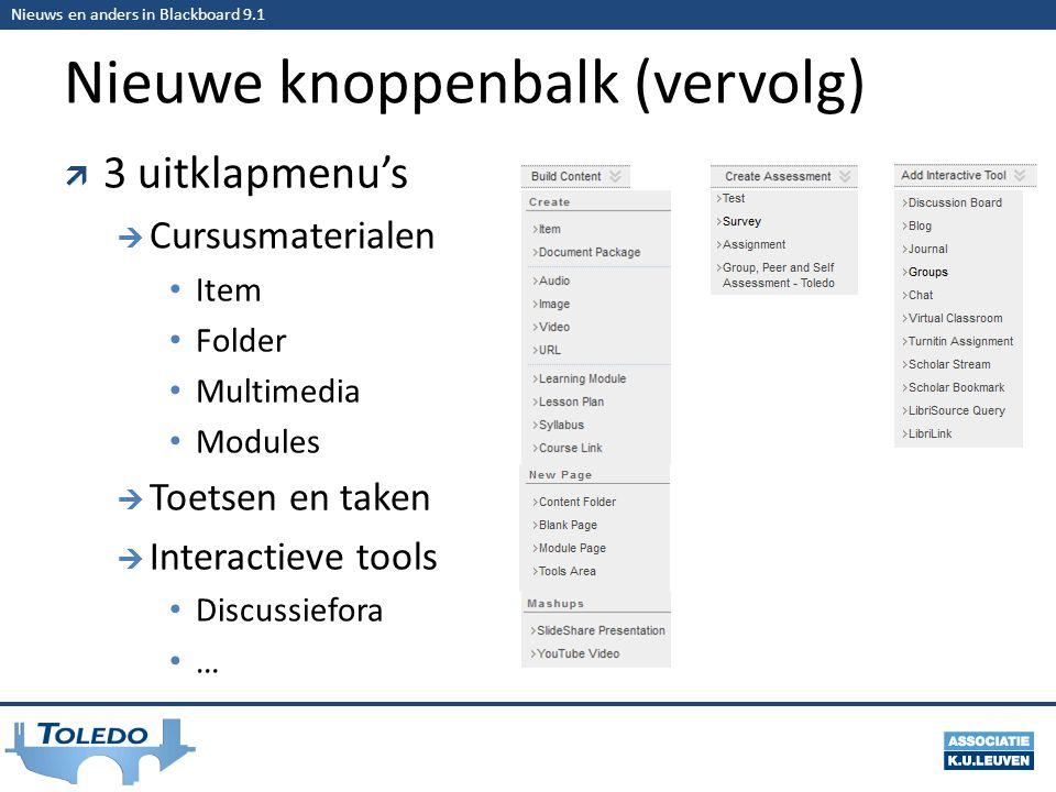 Nieuws en anders in Blackboard 9.1 Nieuwe knoppenbalk (vervolg)  3 uitklapmenu's  Cursusmaterialen • Item • Folder • Multimedia • Modules  Toetsen en taken  Interactieve tools • Discussiefora • …