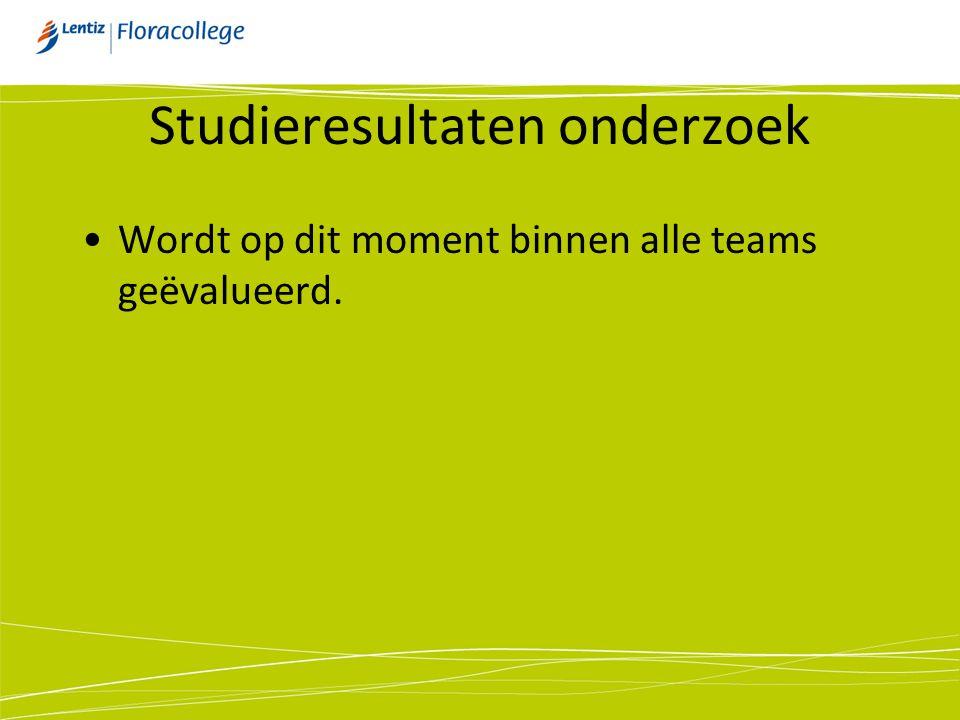 Studieresultaten onderzoek •Wordt op dit moment binnen alle teams geëvalueerd.