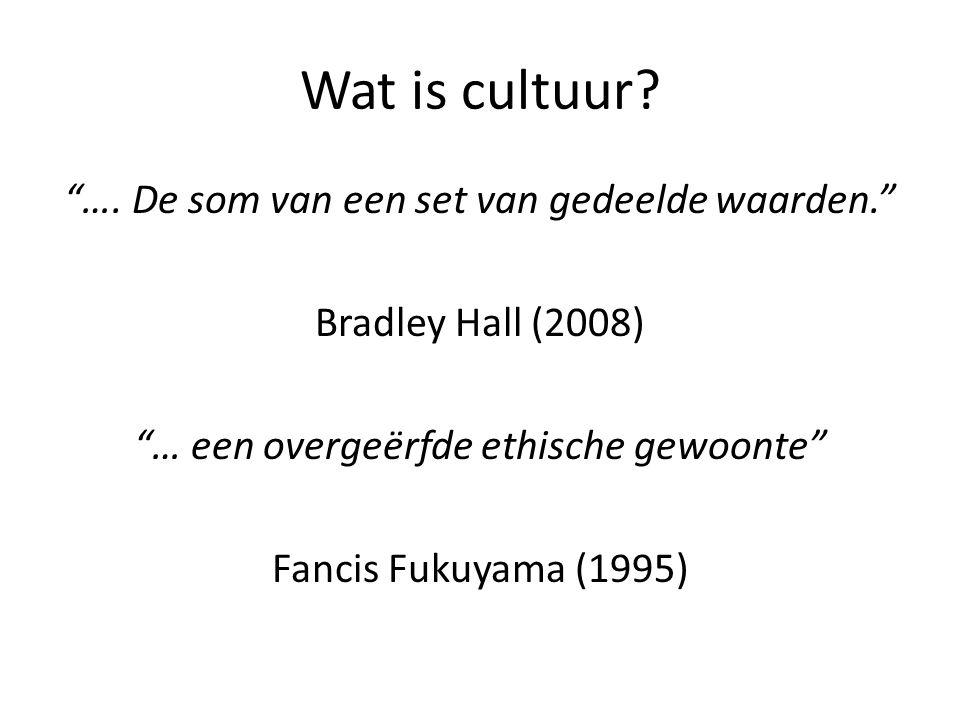 """Wat is cultuur? """"…. De som van een set van gedeelde waarden."""" Bradley Hall (2008) """"… een overgeërfde ethische gewoonte"""" Fancis Fukuyama (1995)"""