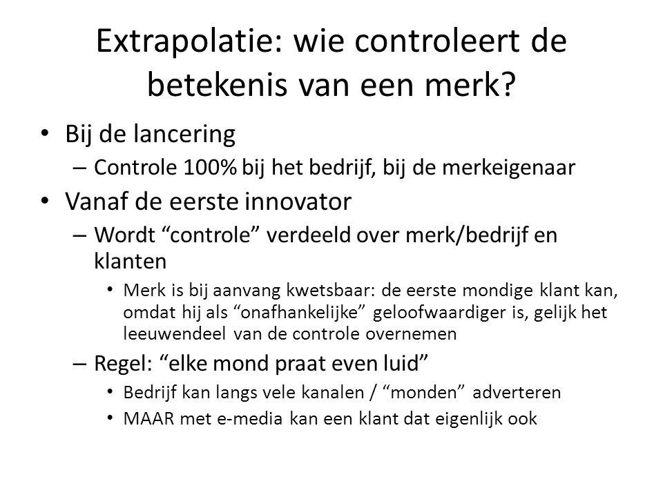 Extrapolatie: wie controleert de betekenis van een merk? • Bij de lancering – Controle 100% bij het bedrijf, bij de merkeigenaar • Vanaf de eerste inn
