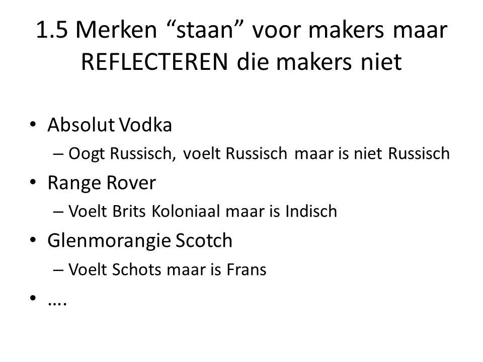 """1.5 Merken """"staan"""" voor makers maar REFLECTEREN die makers niet • Absolut Vodka – Oogt Russisch, voelt Russisch maar is niet Russisch • Range Rover –"""
