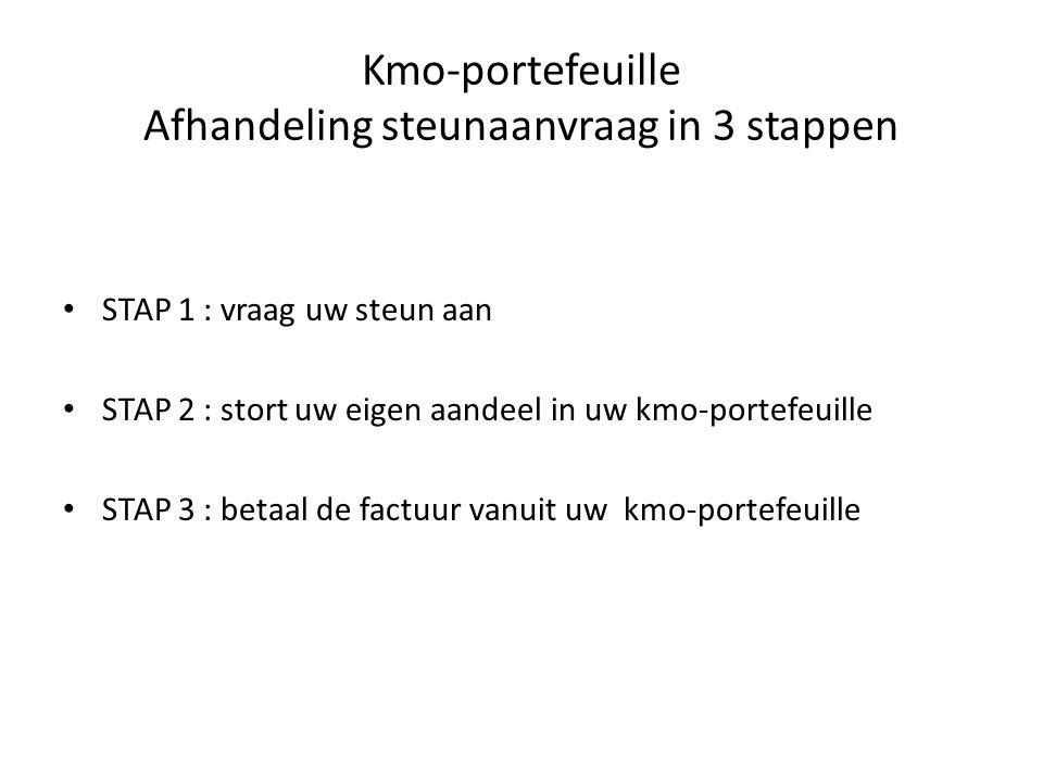 Kmo-portefeuille Afhandeling steunaanvraag in 3 stappen • STAP 1 : vraag uw steun aan • STAP 2 : stort uw eigen aandeel in uw kmo-portefeuille • STAP