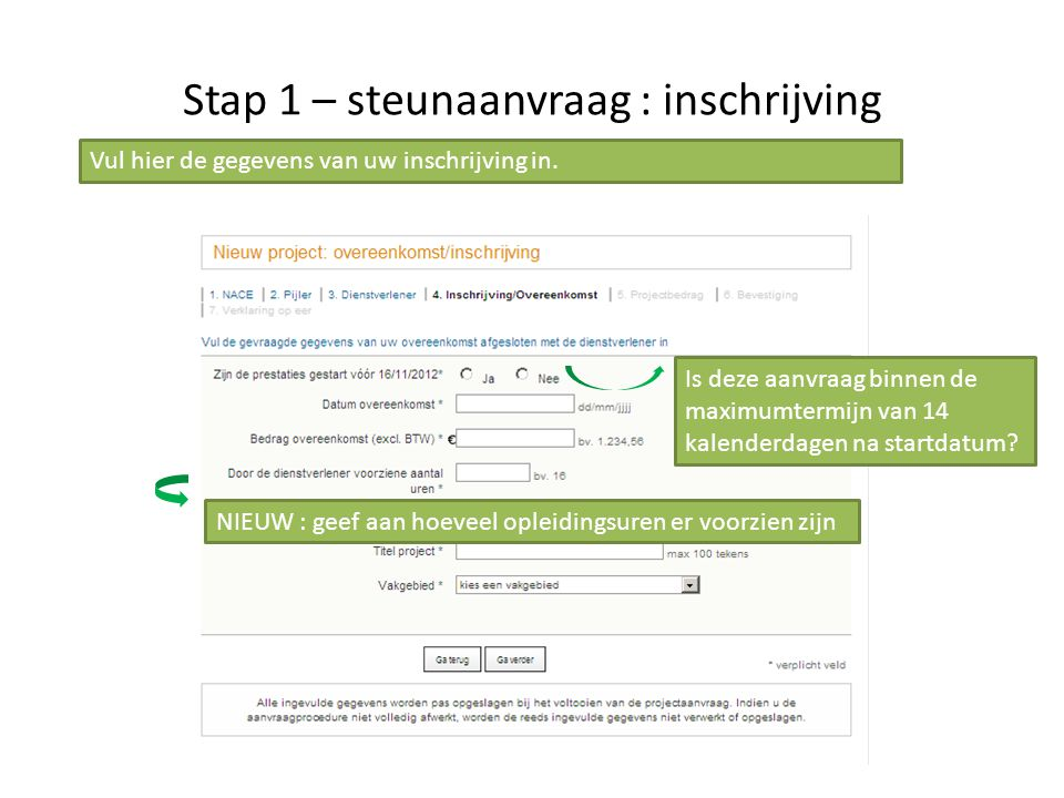 Stap 1 – steunaanvraag : inschrijving NIEUW : geef aan hoeveel opleidingsuren er voorzien zijn Vul hier de gegevens van uw inschrijving in. Is deze aa