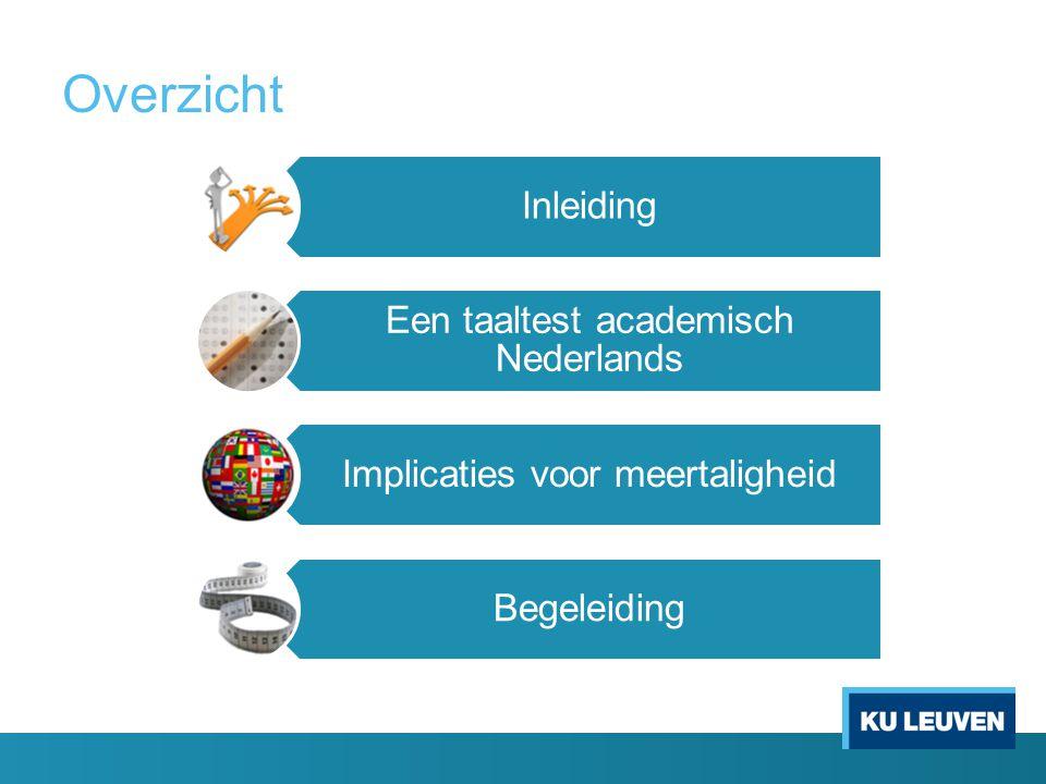 Overzicht Inleiding Een taaltest academisch Nederlands Implicaties voor meertaligheid Begeleiding