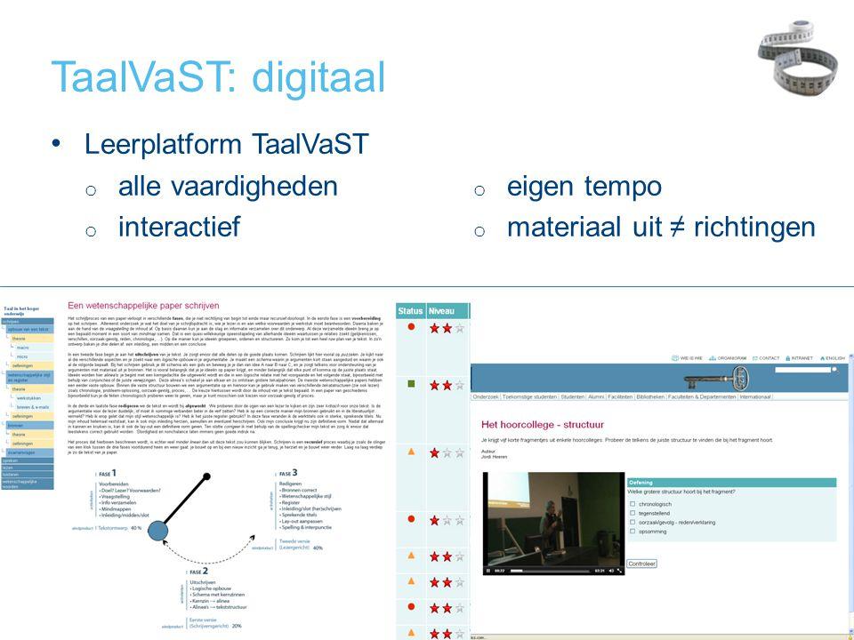 TaalVaST: digitaal • Leerplatform TaalVaST o alle vaardigheden o interactief o eigen tempo o materiaal uit ≠ richtingen