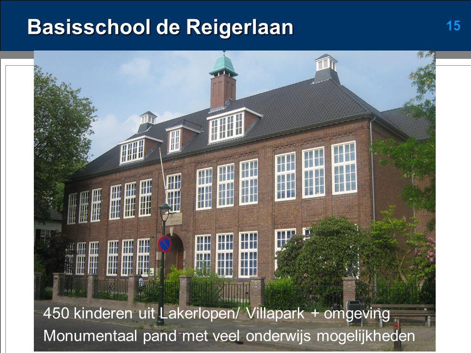 15 Basisschool de Reigerlaan 450 kinderen uit Lakerlopen/ Villapark + omgeving Monumentaal pand met veel onderwijs mogelijkheden