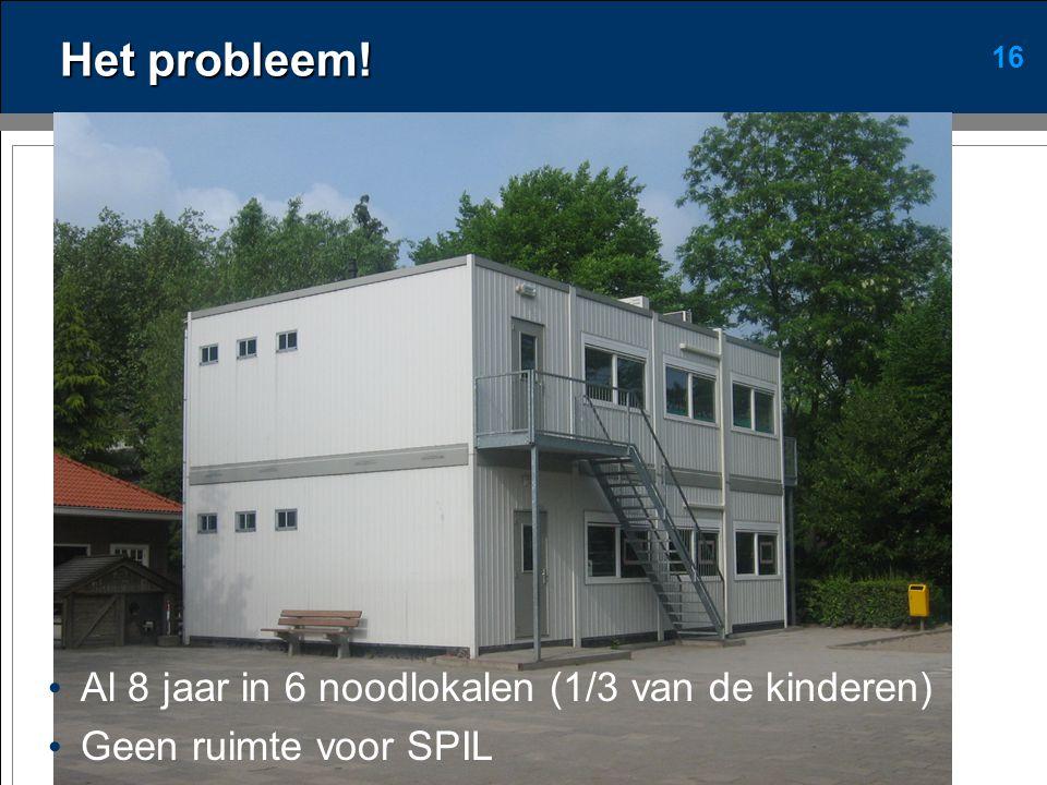 16 Het probleem! • Al 8 jaar in 6 noodlokalen (1/3 van de kinderen) • Geen ruimte voor SPIL