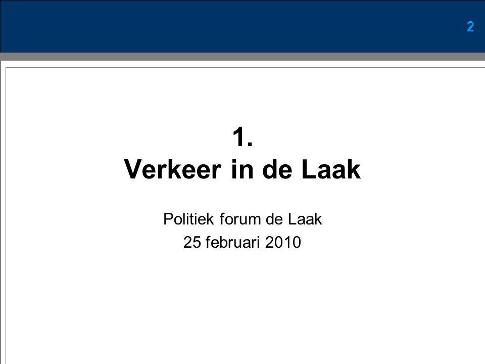 2 1. Verkeer in de Laak Politiek forum de Laak 25 februari 2010