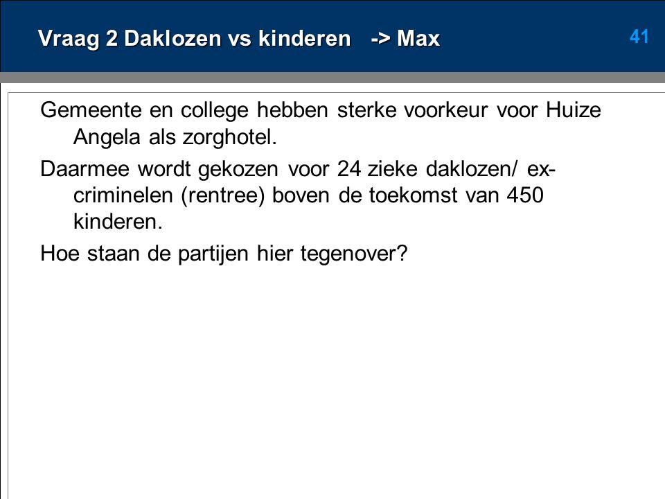 41 Vraag 2 Daklozen vs kinderen-> Max Gemeente en college hebben sterke voorkeur voor Huize Angela als zorghotel.