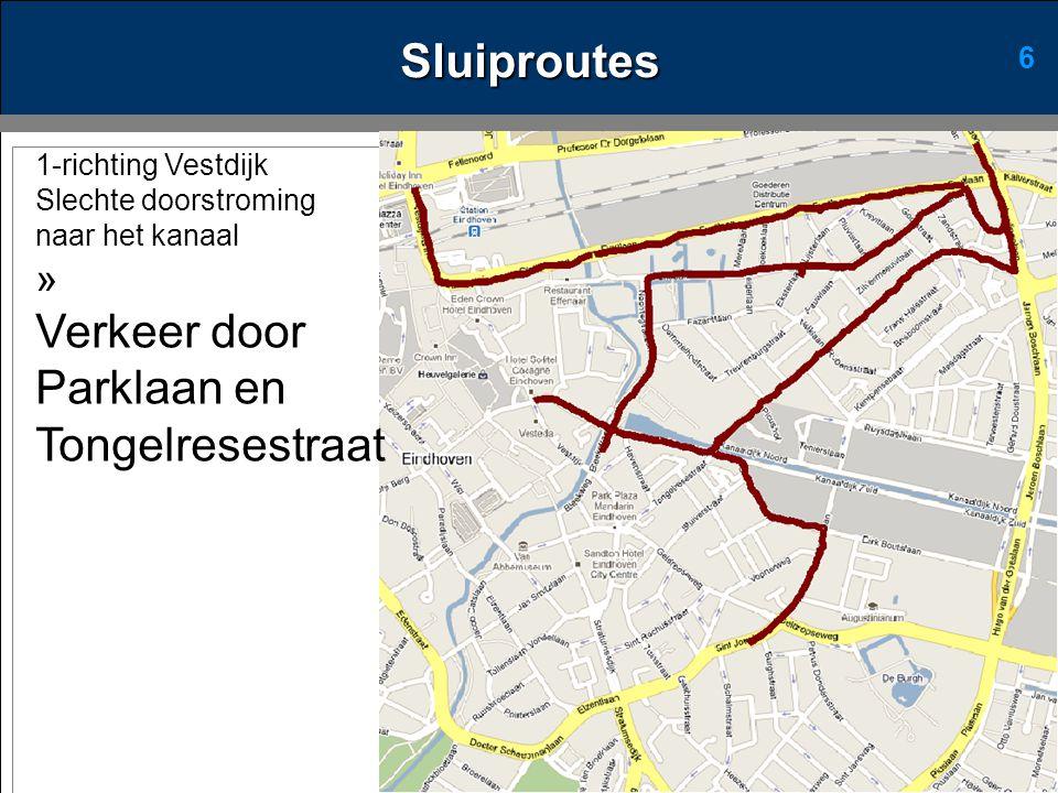 6 1-richting Vestdijk Slechte doorstroming naar het kanaal » Verkeer door Parklaan en Tongelresestraat Sluiproutes