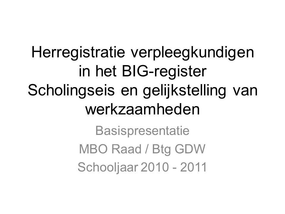 Herregistratie verpleegkundigen in het BIG-register Scholingseis en gelijkstelling van werkzaamheden Basispresentatie MBO Raad / Btg GDW Schooljaar 2010 - 2011