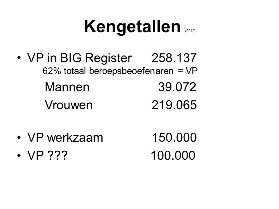 Kengetallen (2010) •VP in BIG Register 258.137 62% totaal beroepsbeoefenaren = VP Mannen 39.072 Vrouwen 219.065 •VP werkzaam 150.000 •VP ??.