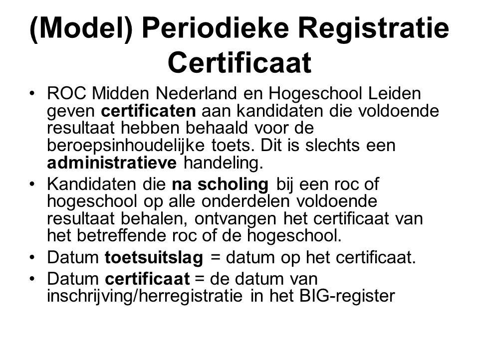 (Model) Periodieke Registratie Certificaat •ROC Midden Nederland en Hogeschool Leiden geven certificaten aan kandidaten die voldoende resultaat hebben behaald voor de beroepsinhoudelijke toets.