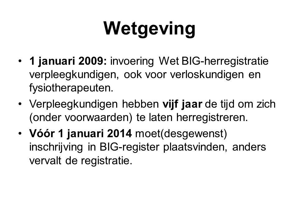 Wetgeving •1 januari 2009: invoering Wet BIG-herregistratie verpleegkundigen, ook voor verloskundigen en fysiotherapeuten.