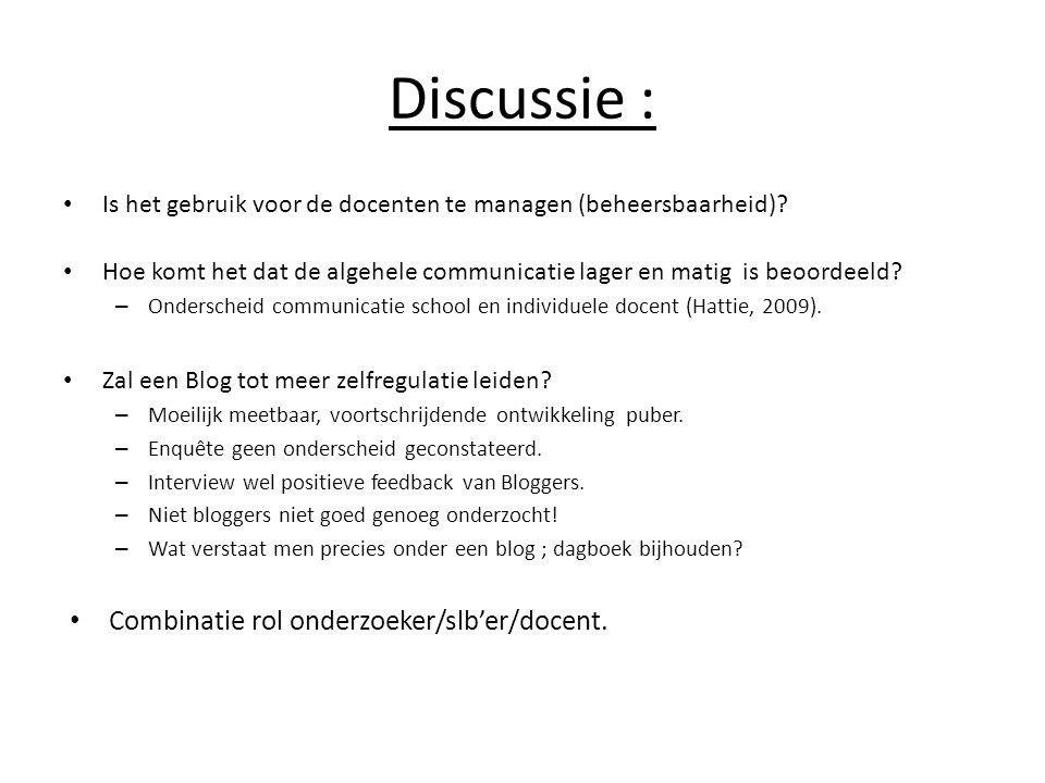 Discussie : • Is het gebruik voor de docenten te managen (beheersbaarheid)? • Hoe komt het dat de algehele communicatie lager en matig is beoordeeld?