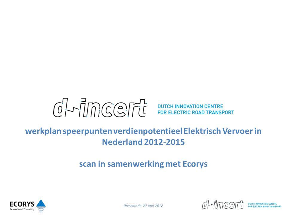 werkplan speerpunten verdienpotentieel Elektrisch Vervoer in Nederland 2012-2015 scan in samenwerking met Ecorys Presentatie 27 juni 2012