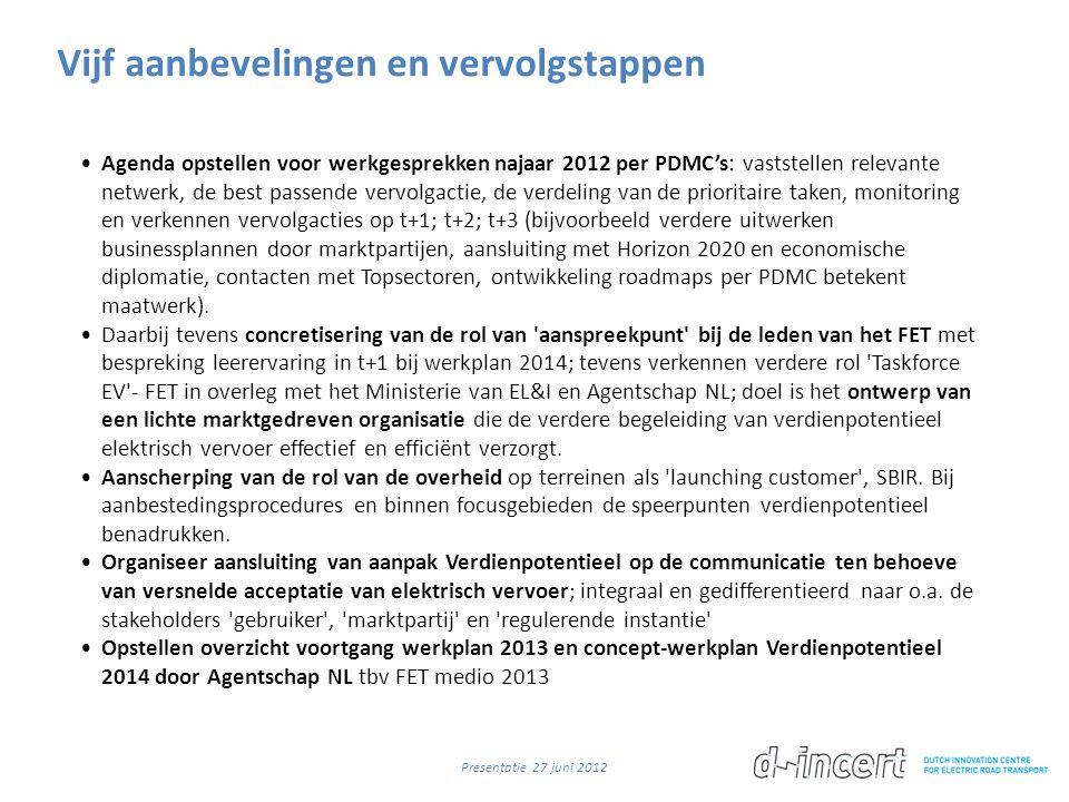 Vijf aanbevelingen en vervolgstappen •Agenda opstellen voor werkgesprekken najaar 2012 per PDMC's: vaststellen relevante netwerk, de best passende vervolgactie, de verdeling van de prioritaire taken, monitoring en verkennen vervolgacties op t+1; t+2; t+3 (bijvoorbeeld verdere uitwerken businessplannen door marktpartijen, aansluiting met Horizon 2020 en economische diplomatie, contacten met Topsectoren, ontwikkeling roadmaps per PDMC betekent maatwerk).