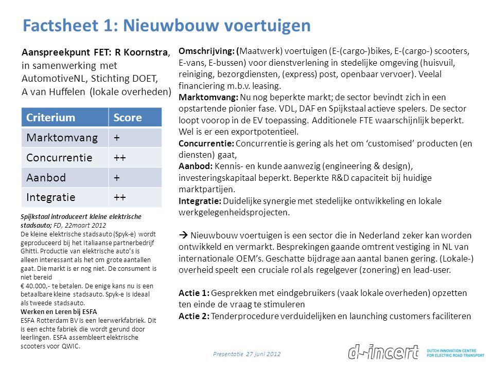 Factsheet 1: Nieuwbouw voertuigen CriteriumScore Marktomvang+ Concurrentie++ Aanbod+ Integratie++ Omschrijving: (Maatwerk) voertuigen (E-(cargo-)bikes