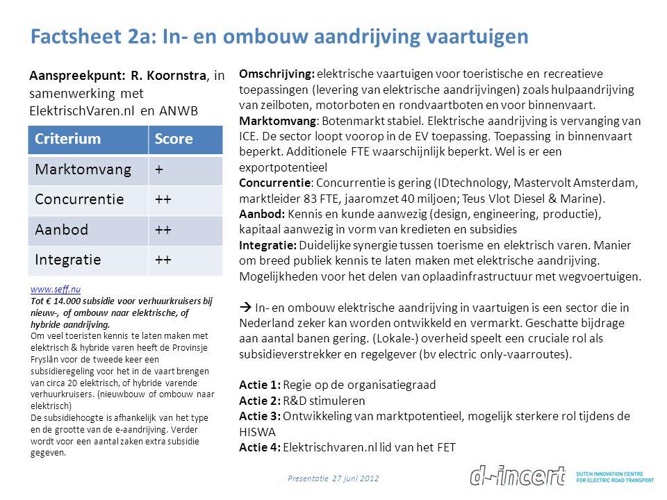 Factsheet 2a: In- en ombouw aandrijving vaartuigen CriteriumScore Marktomvang+ Concurrentie++ Aanbod++ Integratie++ Omschrijving: elektrische vaartuig