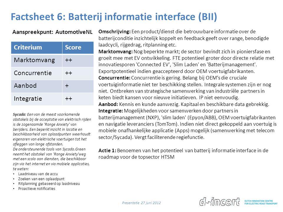 Factsheet 6: Batterij informatie interface (BII) CriteriumScore Marktomvang++ Concurrentie++ Aanbod+ Integratie++ Omschrijving: Een product/dienst die betrouwbare informatie over de batterijconditie inzichtelijk koppelt en feedback geeft over range, benodigde laadcycli, rijgedrag, ritplanning etc.