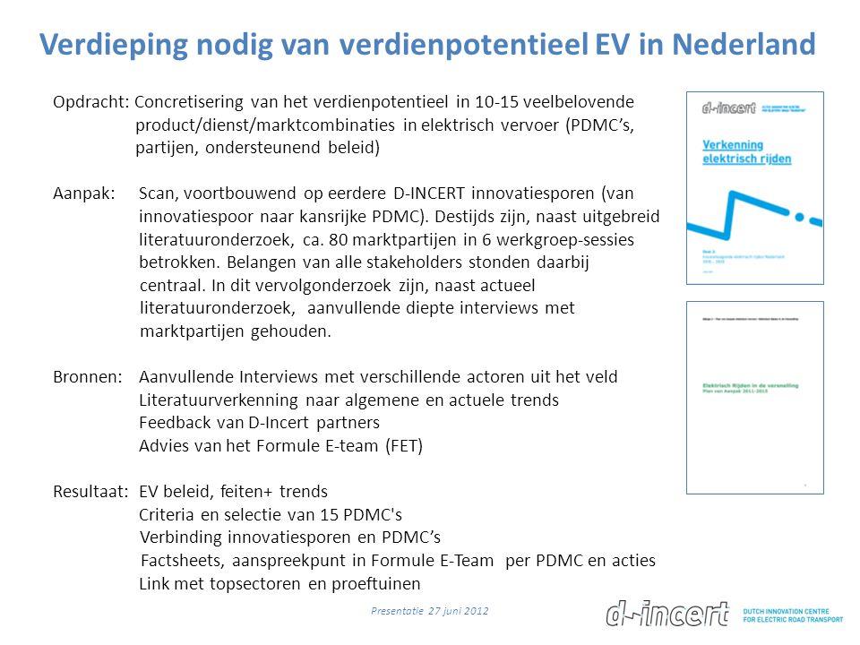 Verdieping nodig van verdienpotentieel EV in Nederland Opdracht: Concretisering van het verdienpotentieel in 10-15 veelbelovende product/dienst/marktcombinaties in elektrisch vervoer (PDMC's, partijen, ondersteunend beleid) Aanpak: Scan, voortbouwend op eerdere D-INCERT innovatiesporen (van innovatiespoor naar kansrijke PDMC).
