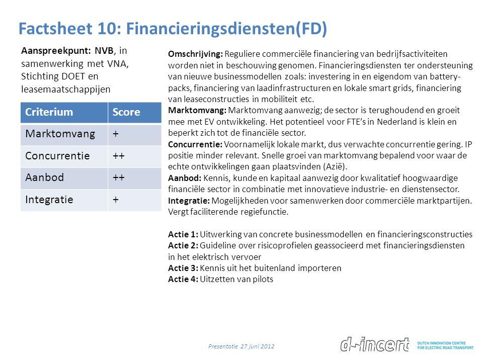 Factsheet 10: Financieringsdiensten(FD) CriteriumScore Marktomvang+ Concurrentie++ Aanbod++ Integratie+ Omschrijving: Reguliere commerciële financiering van bedrijfsactiviteiten worden niet in beschouwing genomen.