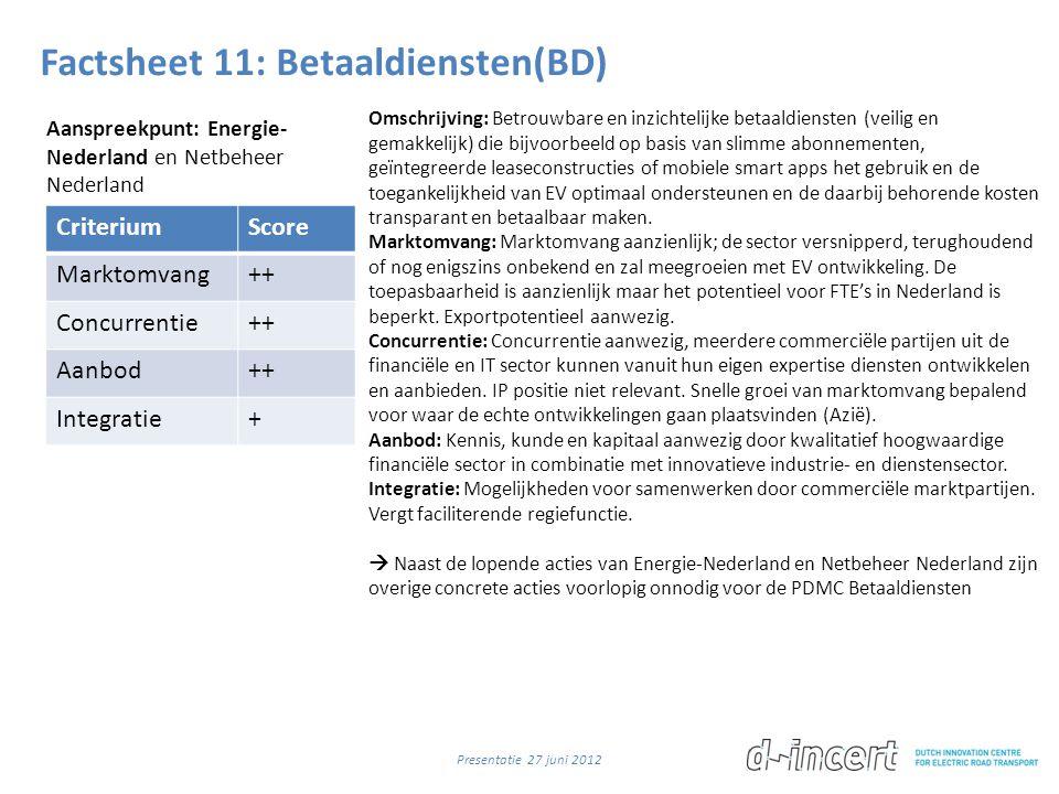 Factsheet 11: Betaaldiensten(BD) CriteriumScore Marktomvang++ Concurrentie++ Aanbod++ Integratie+ Omschrijving: Betrouwbare en inzichtelijke betaaldie