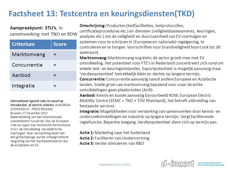 Factsheet 13: Testcentra en keuringsdiensten(TKD) CriteriumScore Marktomvang+ Concurrentie+ Aanbod+ Integratie+ Omschrijving: Producten (testfaciliteiten, testprotocollen, certificatieprocedures etc.) en diensten (veiligheidsassessments, keuringen, analyses etc.) om de veiligheid en duurzaamheid van EV voertuigen en systemen voor te schrijven in (Europese en nationale) regelgeving, te controleren en te borgen.