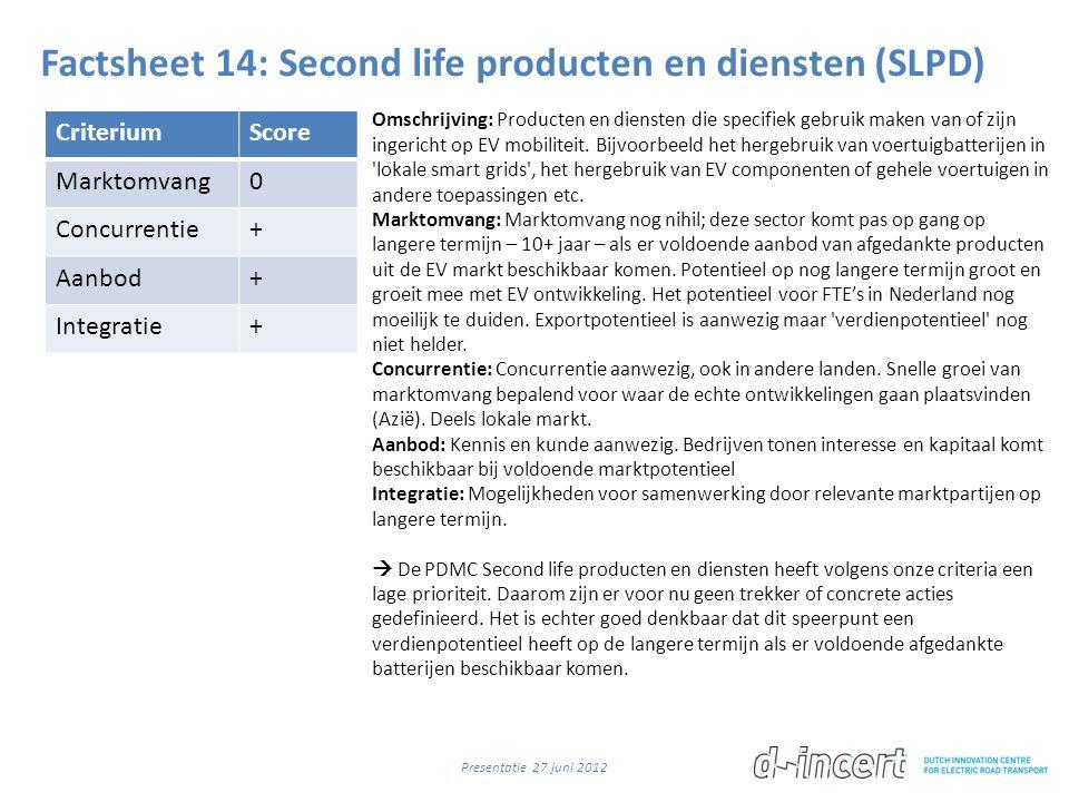 Factsheet 14: Second life producten en diensten (SLPD) CriteriumScore Marktomvang0 Concurrentie+ Aanbod+ Integratie+ Omschrijving: Producten en diensten die specifiek gebruik maken van of zijn ingericht op EV mobiliteit.