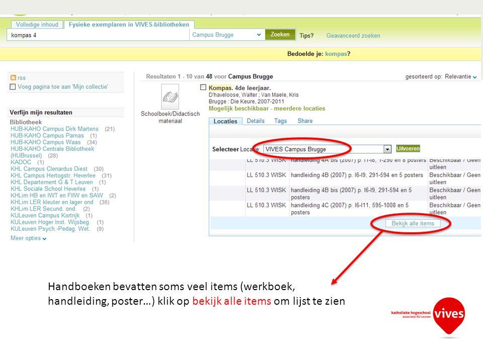 Handboeken bevatten soms veel items (werkboek, handleiding, poster…) klik op bekijk alle items om lijst te zien