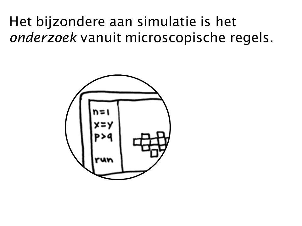 Het bijzondere aan simulatie is het onderzoek vanuit microscopische regels.