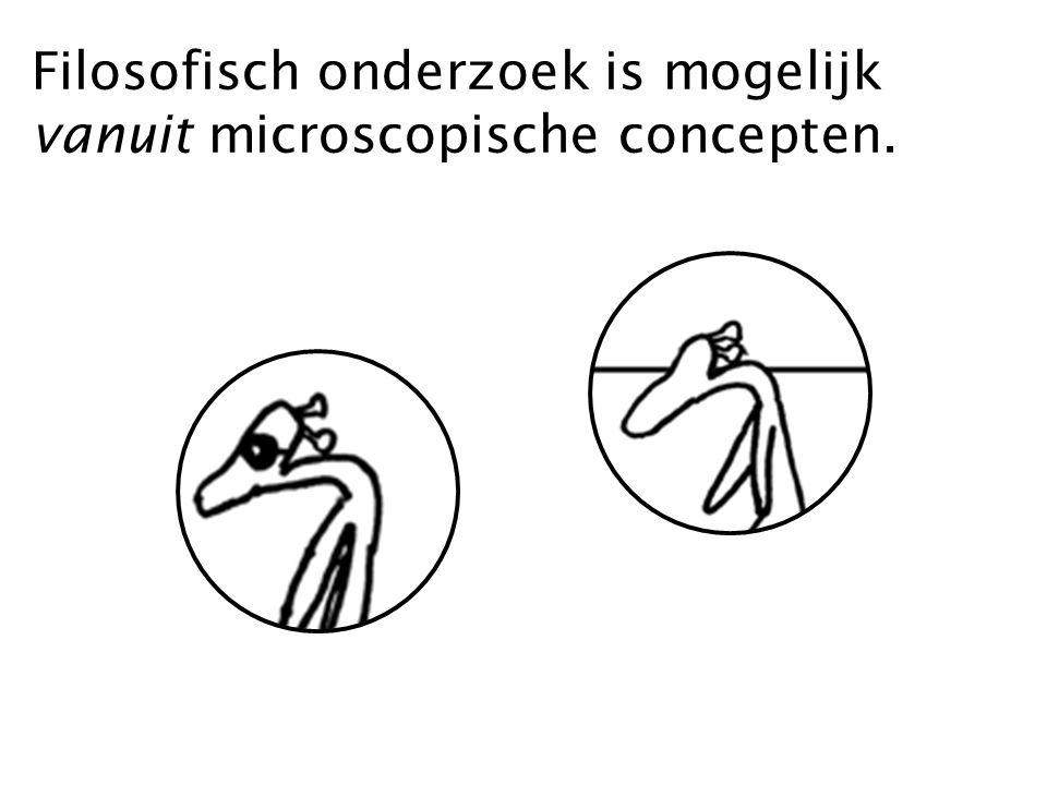 Filosofisch onderzoek is mogelijk vanuit microscopische concepten.