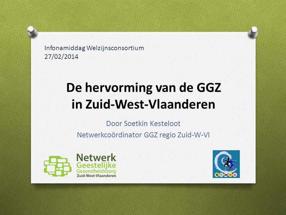 De hervorming van de GGZ in Zuid-West-Vlaanderen Door Soetkin Kesteloot Netwerkcoördinator GGZ regio Zuid-W-Vl Infonamiddag Welzijnsconsortium 27/02/2014