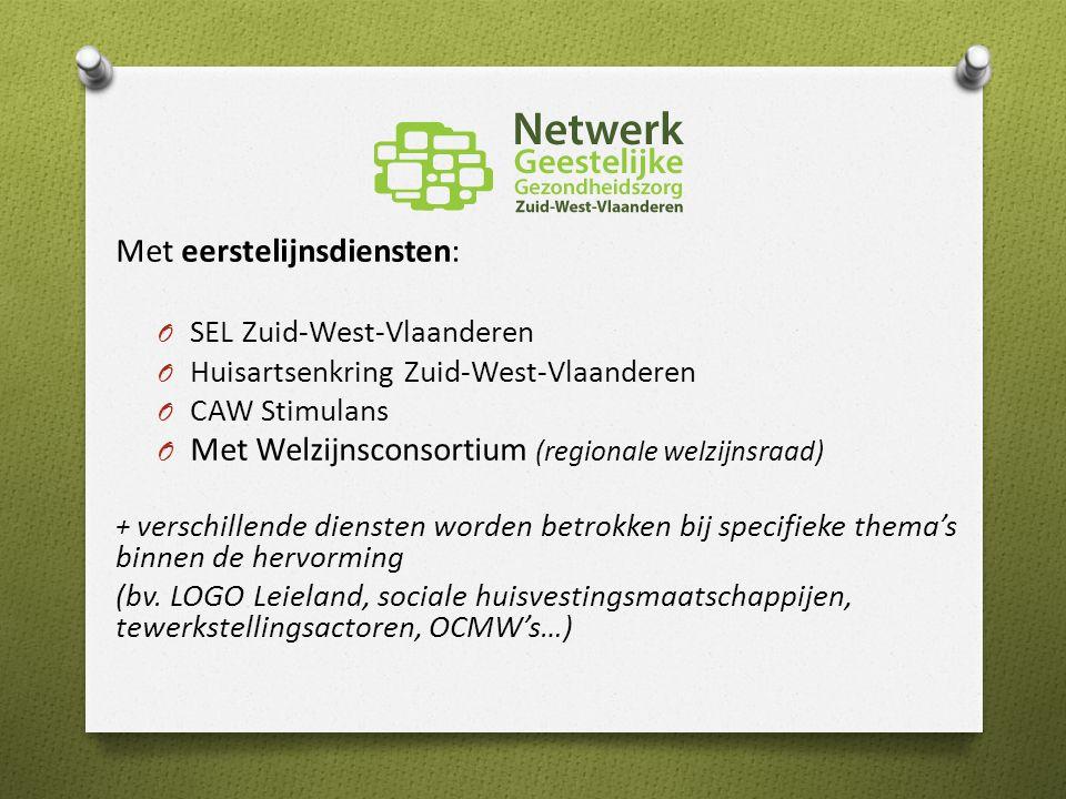 Met eerstelijnsdiensten: O SEL Zuid-West-Vlaanderen O Huisartsenkring Zuid-West-Vlaanderen O CAW Stimulans O Met Welzijnsconsortium (regionale welzijnsraad) + verschillende diensten worden betrokken bij specifieke thema's binnen de hervorming (bv.