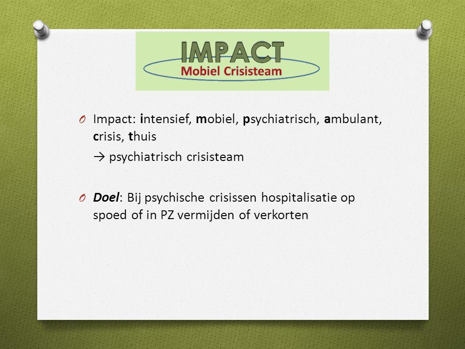 O Impact: intensief, mobiel, psychiatrisch, ambulant, crisis, thuis → psychiatrisch crisisteam O Doel: Bij psychische crisissen hospitalisatie op spoed of in PZ vermijden of verkorten