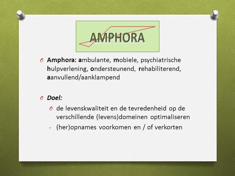 O Amphora: ambulante, mobiele, psychiatrische hulpverlening, ondersteunend, rehabiliterend, aanvullend/aanklampend O Doel: O de levenskwaliteit en de tevredenheid op de verschillende (levens)domeinen optimaliseren - (her)opnames voorkomen en / of verkorten