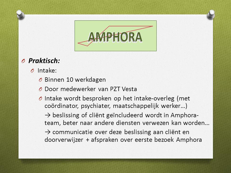 O Praktisch: O Intake: O Binnen 10 werkdagen O Door medewerker van PZT Vesta O Intake wordt besproken op het intake-overleg (met coördinator, psychiater, maatschappelijk werker…) → beslissing of cliënt geïncludeerd wordt in Amphora- team, beter naar andere diensten verwezen kan worden… → communicatie over deze beslissing aan cliënt en doorverwijzer + afspraken over eerste bezoek Amphora