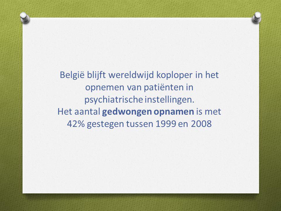 België blijft wereldwijd koploper in het opnemen van patiënten in psychiatrische instellingen.