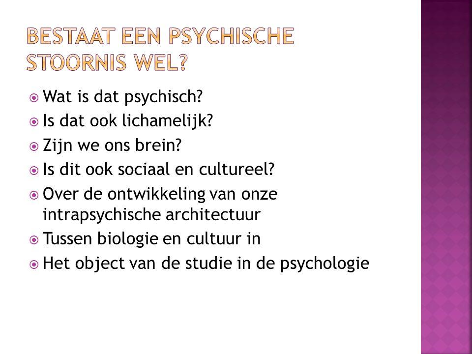  Wat is dat psychisch?  Is dat ook lichamelijk?  Zijn we ons brein?  Is dit ook sociaal en cultureel?  Over de ontwikkeling van onze intrapsychis