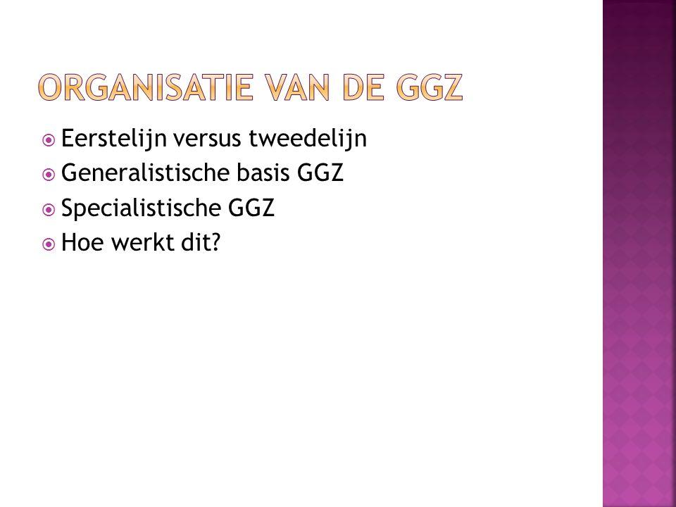  Eerstelijn versus tweedelijn  Generalistische basis GGZ  Specialistische GGZ  Hoe werkt dit?