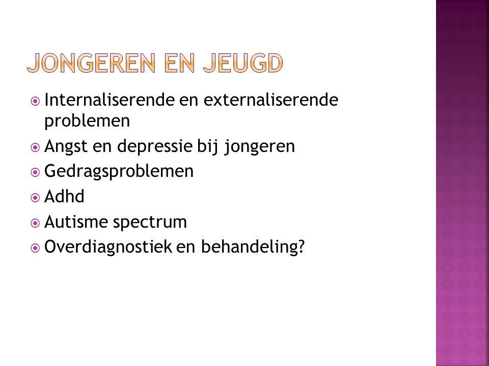  Internaliserende en externaliserende problemen  Angst en depressie bij jongeren  Gedragsproblemen  Adhd  Autisme spectrum  Overdiagnostiek en b