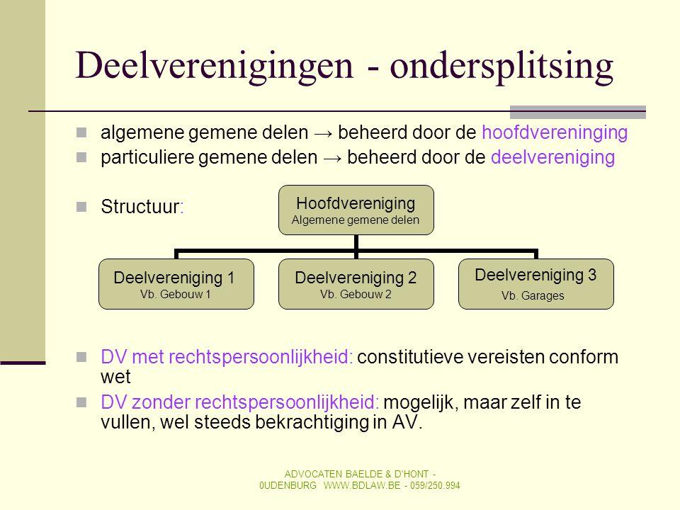 Deelverenigingen - ondersplitsing  algemene gemene delen → beheerd door de hoofdvereninging  particuliere gemene delen → beheerd door de deelverenig