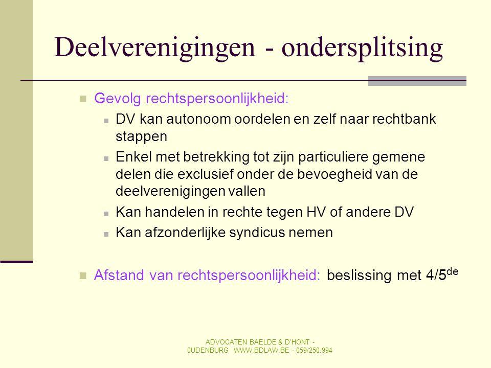 SYNDICUS Artikel 577-8 BW ADVOCATEN BAELDE & D HONT - 0UDENBURG WWW.BDLAW.BE - 059/250.994