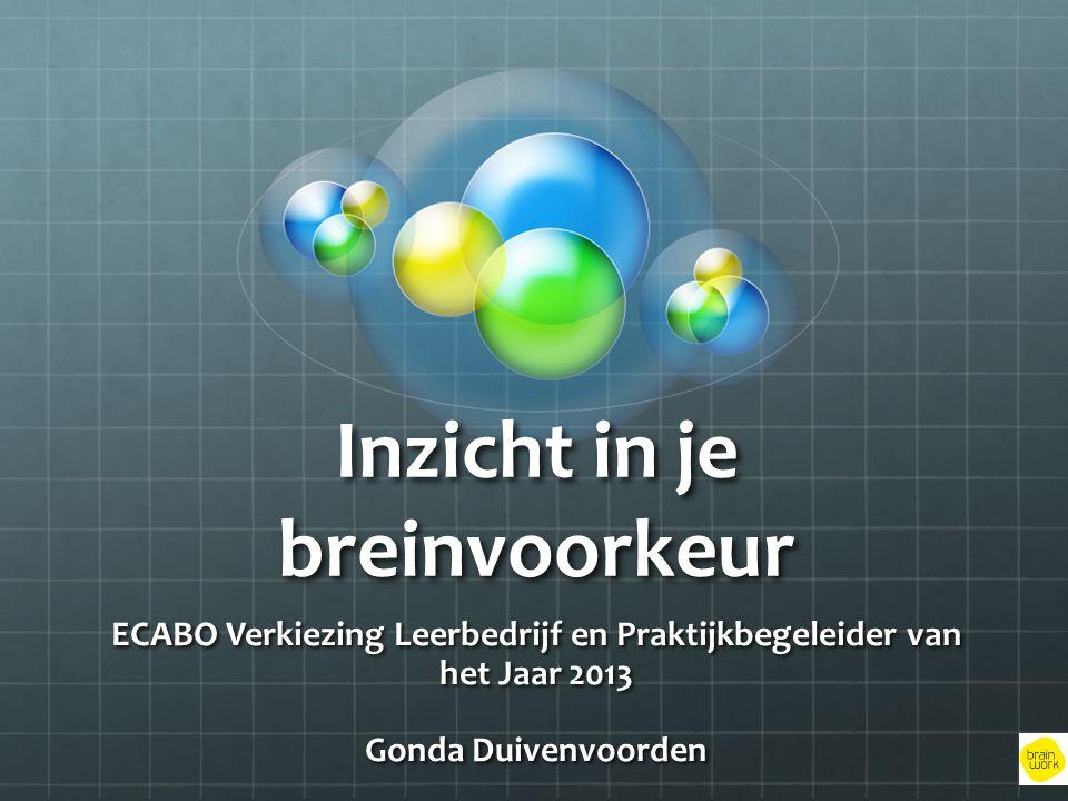 Inzicht in je breinvoorkeur ECABO Verkiezing Leerbedrijf en Praktijkbegeleider van het Jaar 2013 Gonda Duivenvoorden