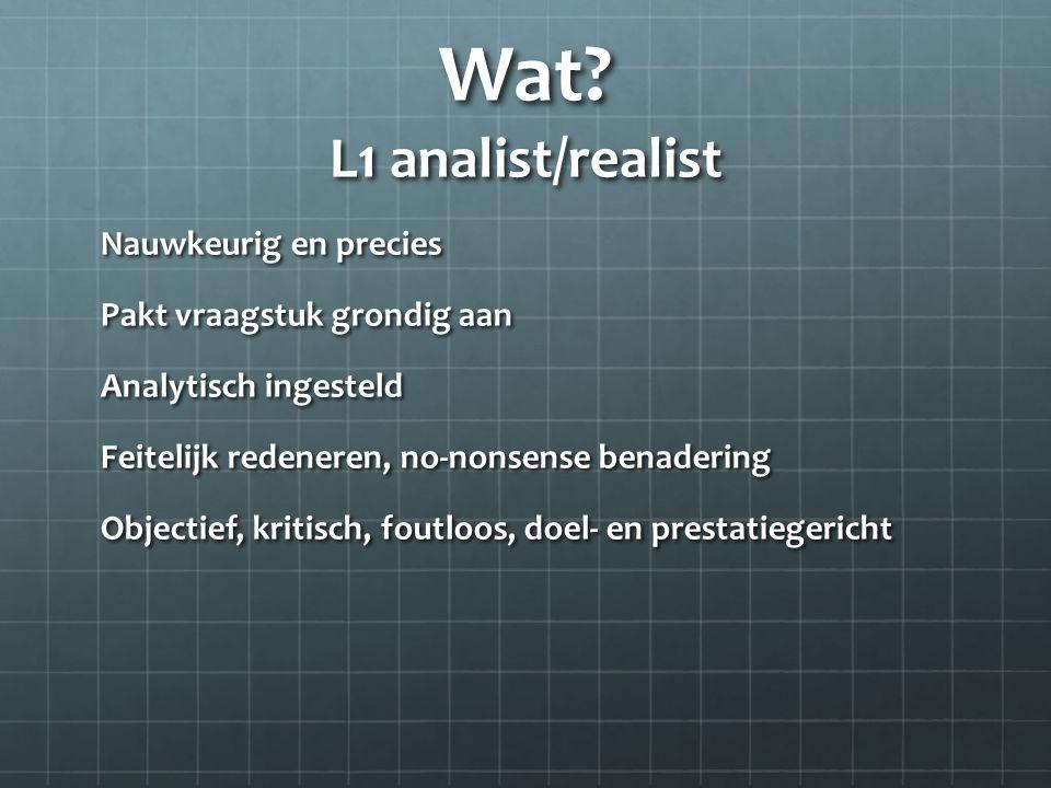 Wat? L1 analist/realist Nauwkeurig en precies Pakt vraagstuk grondig aan Analytisch ingesteld Feitelijk redeneren, no-nonsense benadering Objectief, k