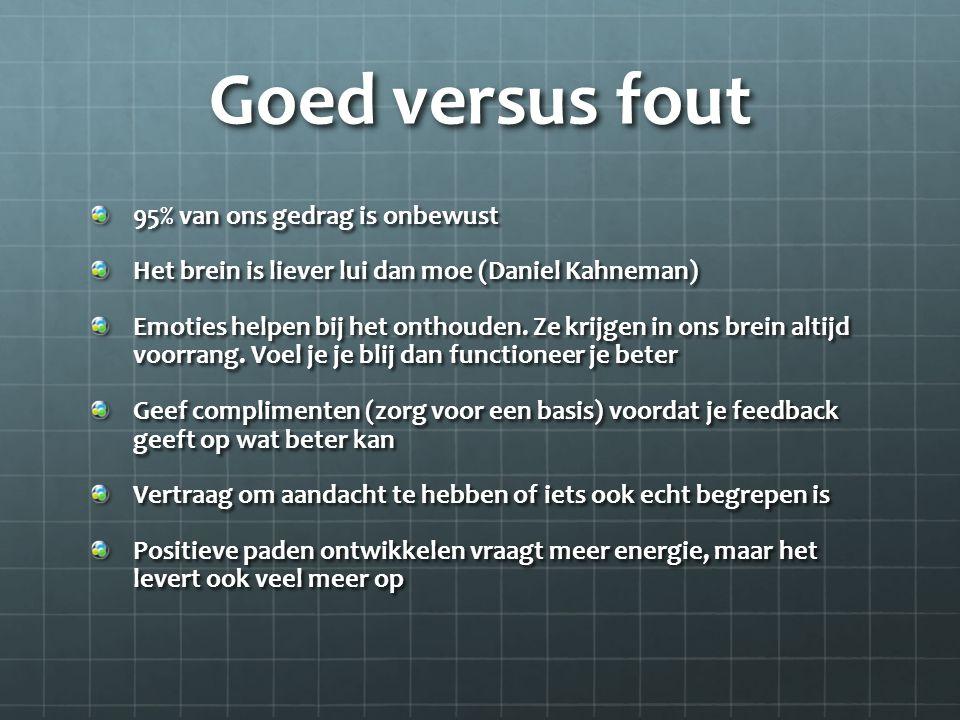 Goed versus fout 95% van ons gedrag is onbewust Het brein is liever lui dan moe (Daniel Kahneman) Emoties helpen bij het onthouden. Ze krijgen in ons