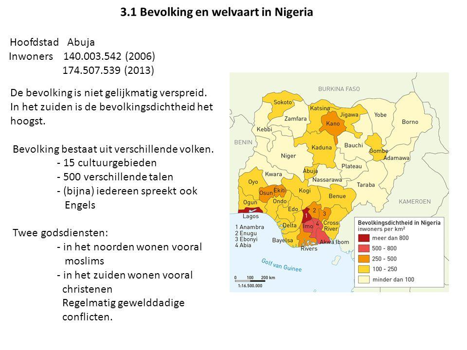 Hoofdstad Abuja Inwoners 140.003.542 (2006) 174.507.539 (2013) De bevolking is niet gelijkmatig verspreid. In het zuiden is de bevolkingsdichtheid het